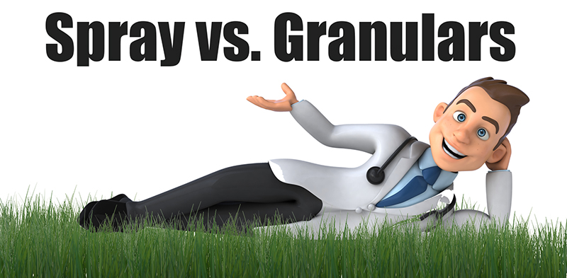 spray vs granular fertilizers